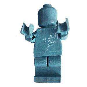 Big Ego Man Hollow Arm Raku Turquoise