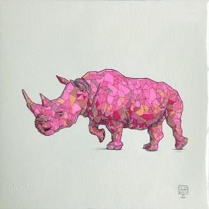 Geometric Pink Rhino