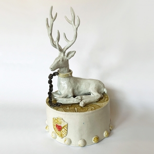 White Hart Over Red Heart Plinth