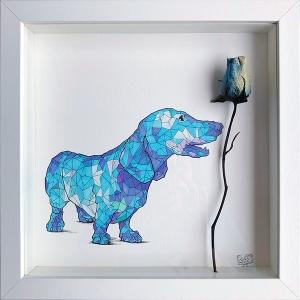 Geometric Blue Dog Rose